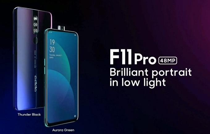 اوپو گوشی هوشمند F11 Pro را با صفحه نمیاش بدون حاشیه و دوربین سلفی بیرون جهنده عرضه میکند